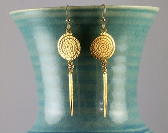 Watermelon Tourmaline Sterling Silver with Bamboo and Chinese Markings Delicato Drop Earring 14k Gold Fill