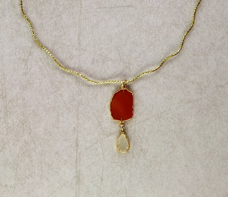 Druzy The Serpentine Choker Necklace with Bezeled Carnelian and 14k Yellow Gold Vermeil
