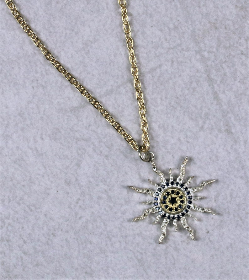 Light Sunburst necklace intricate design of vermeil diamonds airy /& sapphires celestial Gold-filled or sterling chain. sterling