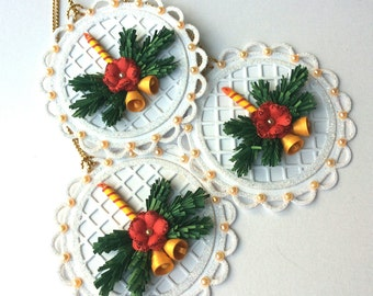 Set of 6 Christmas tags/Handmade/Quilling/