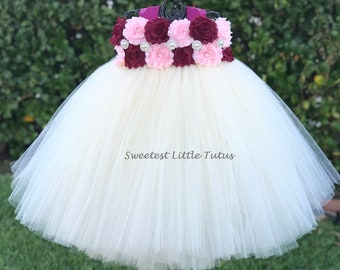 Burgundy and Pink Flower Girl Tutu Dress/ Burgundy Flower Girl Dress/Pink Flower Girl Dress/ Wine Flower Girl Dress