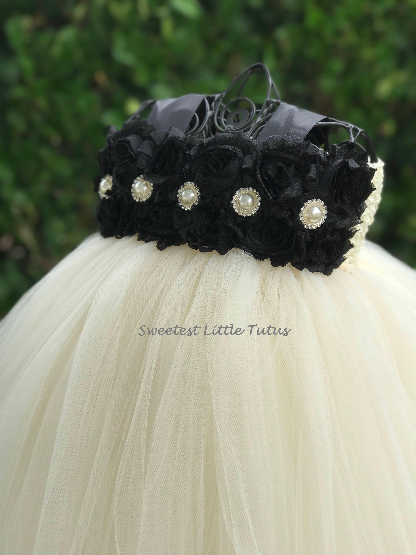 ccc90c5793c Black and Ivory Flower Girl Tutu Dress  Black Flower Girl