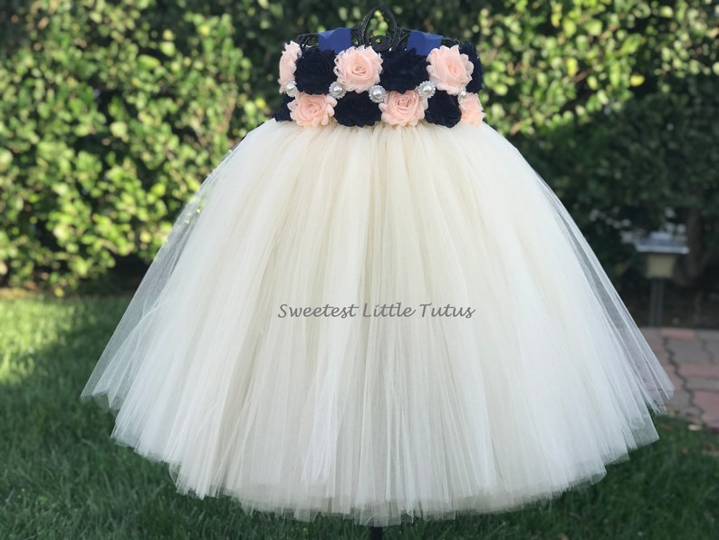 Navy Blue And Pale Peach Flower Girl Tutu Dress Navy Blue Peach Flower Girl Dress Navy Blue Flower Girl Dress Peach Flower Girl Dress