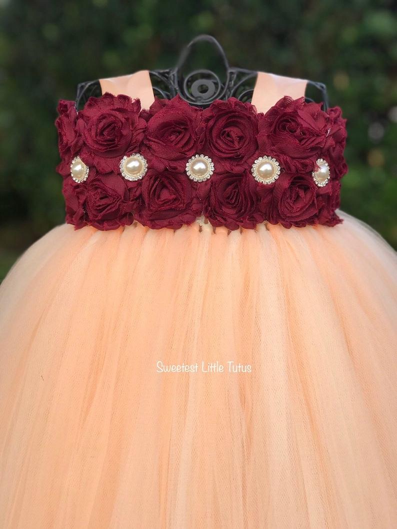 5f3b6ac020f Peach and Burgundy Flower Girl Tutu Dress  Peach Flower Girl