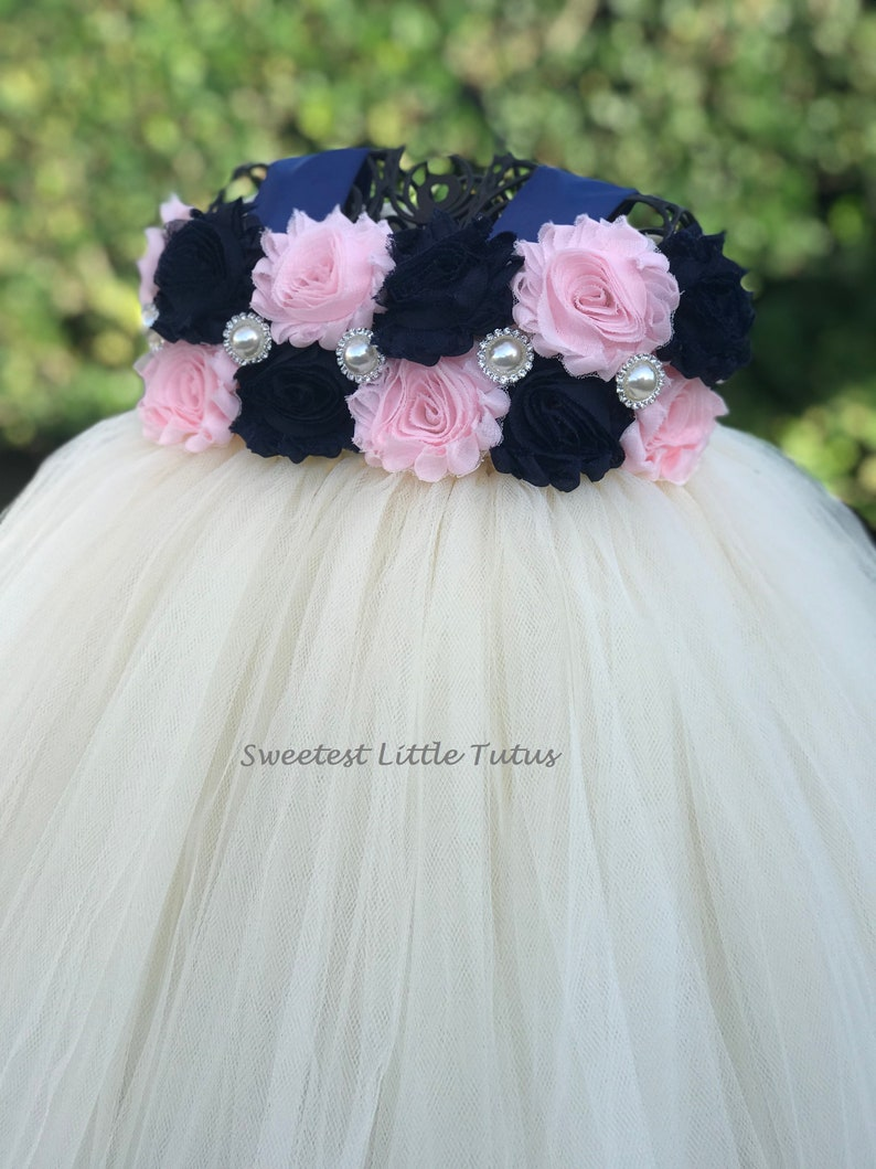 fa78c725561 Navy Blue and Pale Pink Flower Girl Tutu Dress  Navy Blue Pink