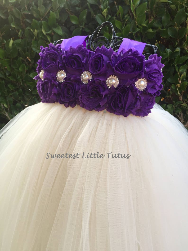 786b2f73b Purple and Ivory Flower Girl Tutu Dress/ Purple Flower Girl | Etsy