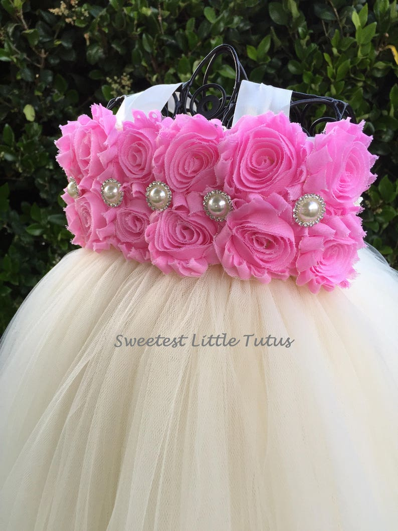 Light Pink and Ivory Flower Girl Tutu Dress Light Pink Flower Girl Dress Pink Flower Girl Dress Flower Girl Dress