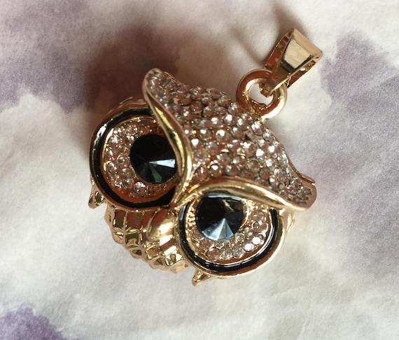 BLING OWL NECKLACE Sparkling Crystal Pendant NEW Rhinestone Charm Bird Jewelry