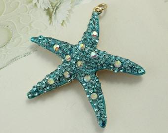 Blue Crystal Starfish Pendant, Gold Starfish Pendant, Starfish Charm Bead, Starfish Jewellery Making Supplies, DIY Gifts, Craft Supplies