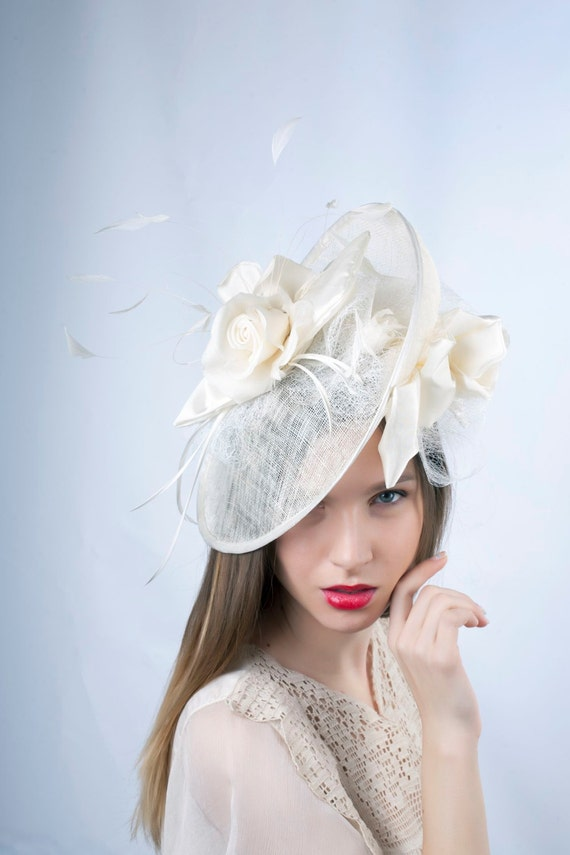 1e69201d4fd1e Cream Wedding hat Wedding Hat Romantic hat Tea party hat