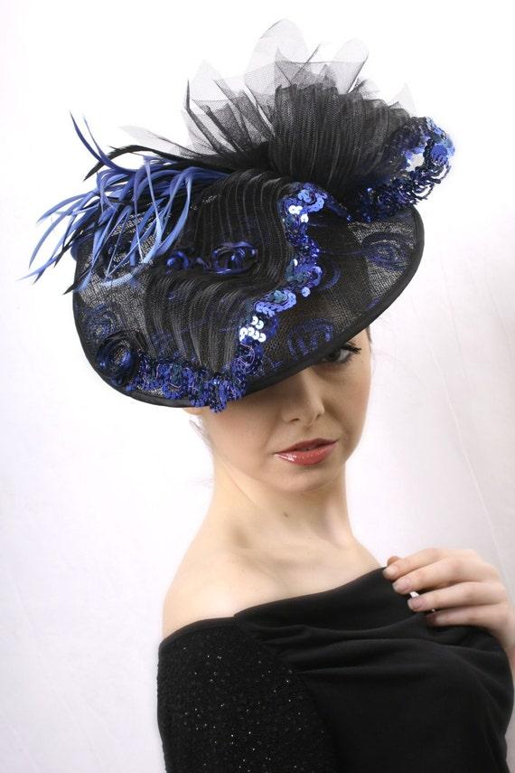 Royal Blue and black Royal Ascot Fascinator Kentucky derby  0a453d2e7b9