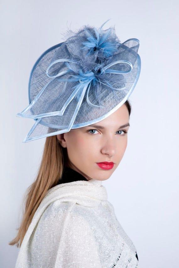 Navy Blue piuma fascia per capelli Fascinator con modisteria Matrimonio Ascot Cappello Capelli Pezzo