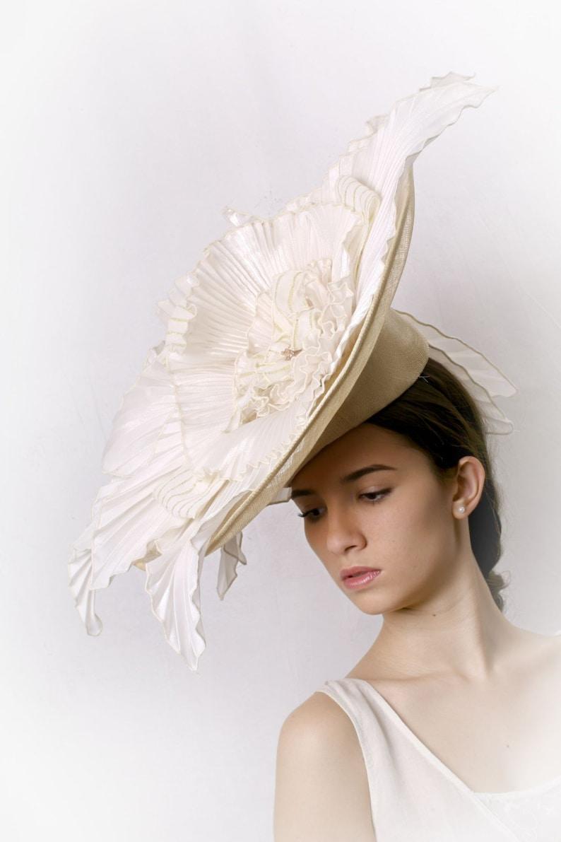 Statement hat fascinator Swan hat Ivory OOAK headpiece Gorgeous Cream hat Pleated satin hat couture bridal hat Statement Wedding hat