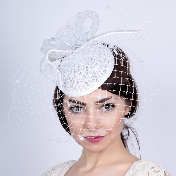 White Wedding mini hat Bride s Hat Romantic wedding  d179127fbc9