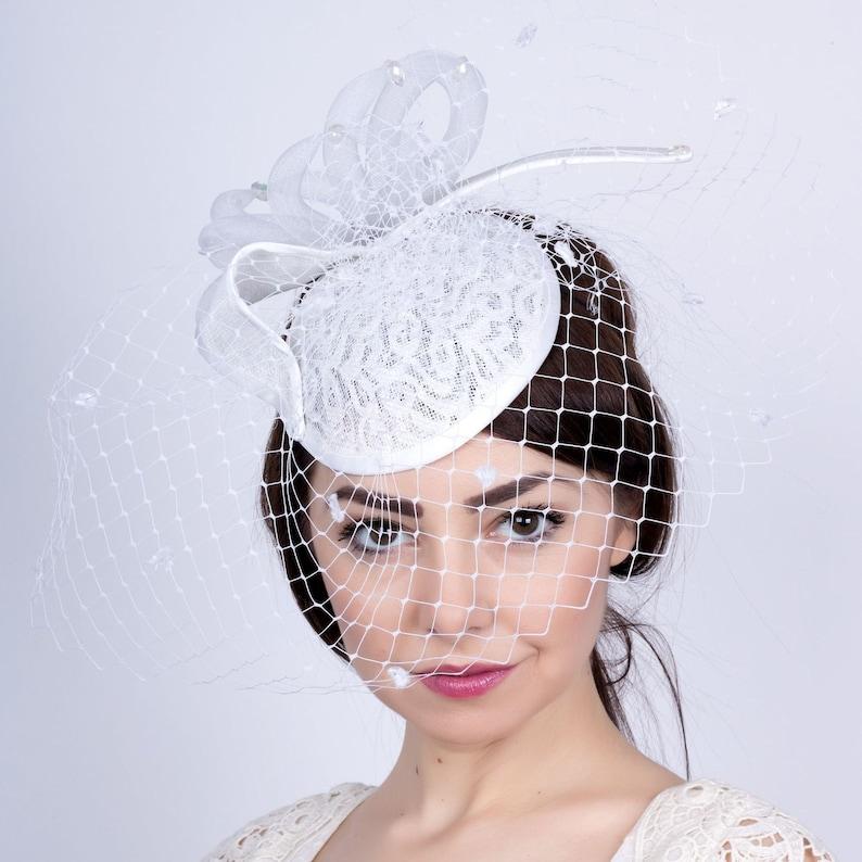 e5dfff8830b White Wedding mini hat Bride s Hat Romantic wedding