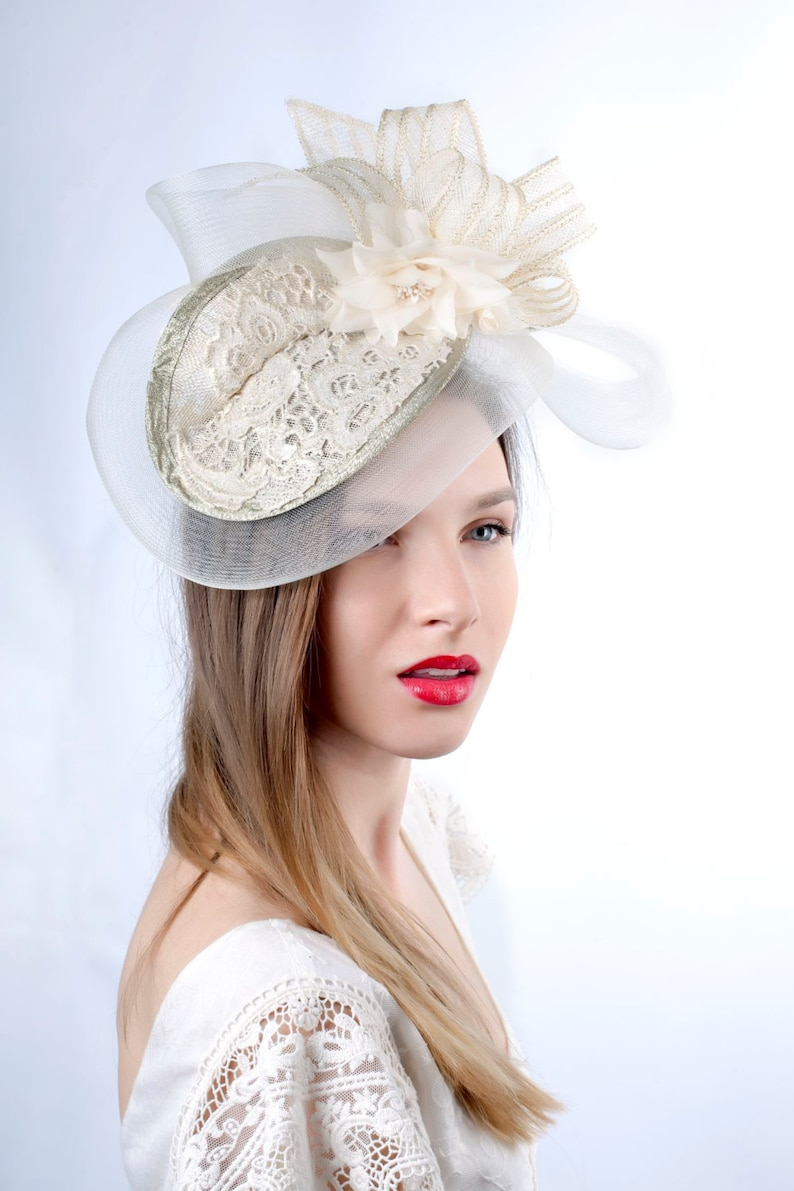 a169c47f8c9d3 Cream Wedding hat Wedding headpiece Romantic hat Ivory gold