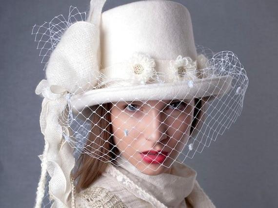 Bridal veiled top hat wedding top hat with Vеil Winter felt  3d4e3e2b8a4
