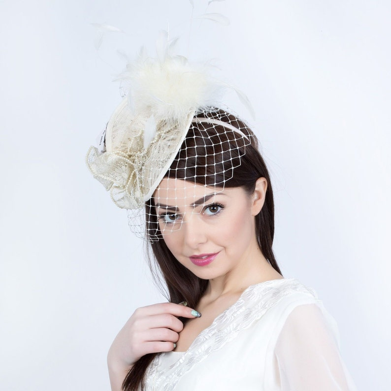 43ba459629f35 Veiled Wedding hat, Cream Wedding Hat, Romantic bridal hat, wedding  fascinator, Bridal veiled hat, Bridal headpiece, derby fascinator