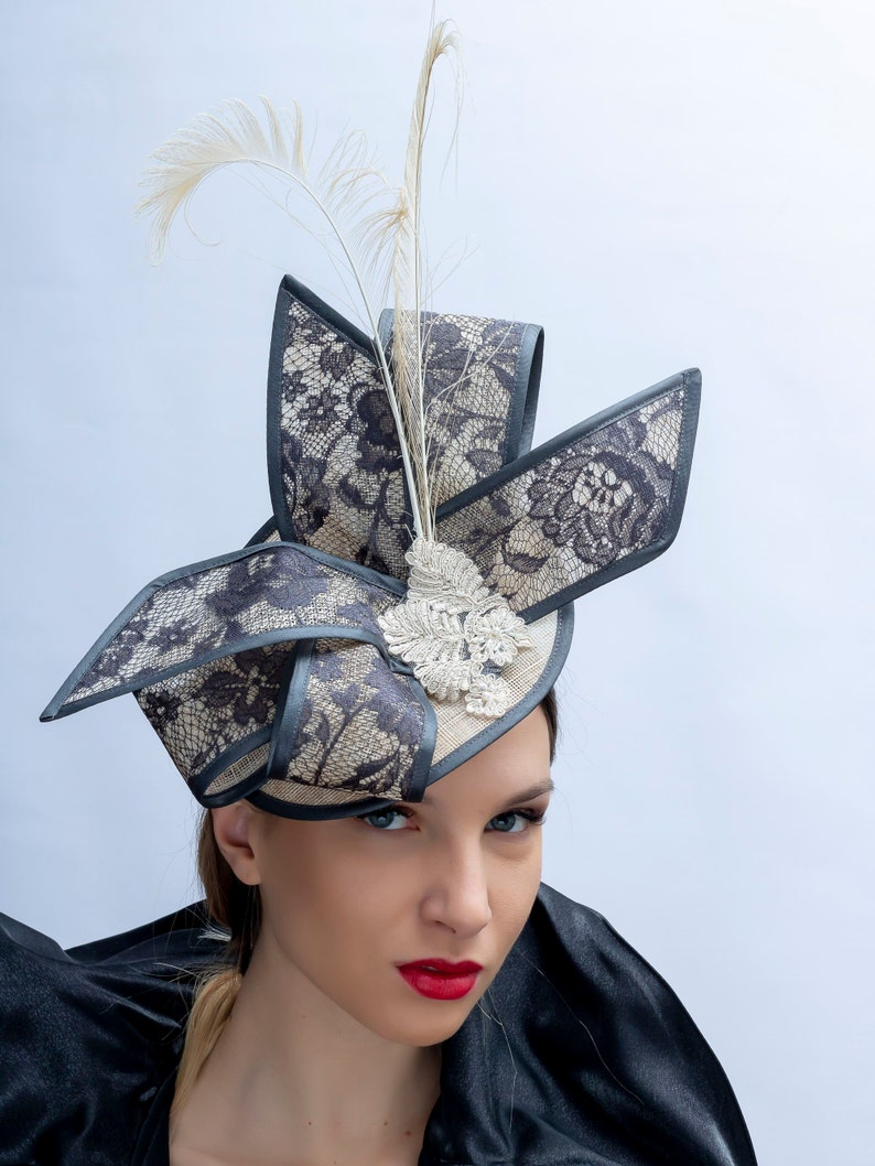 65540f3d16334 Kentucky derby fascinator Lace bow fascinator Royal Ascot