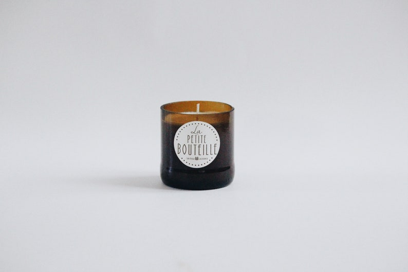 Teakwood Amber Recycled Beer Bottle All Natural Soy Candle  image 0