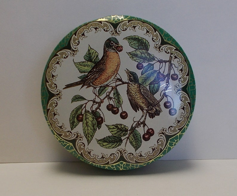 Made in England Robin Birds Eating Cherries Round Daher Tin