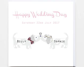 Personalised Doggy Happy Wedding Day Greeting Card