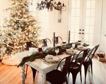 Custom Made Christmas Dining Set White Distressed Pine Black Tolix Chairs