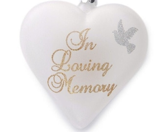 Personalised Frosted Glass Heart -In Loving Memory