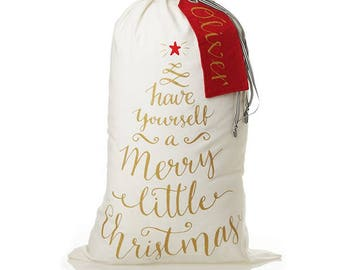 Personalised Canvas Merry Little Christmas Santa Sack