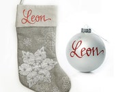 Personalised Silver Snowflake Stocking and Bauble Pack
