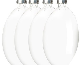 Clear Glass Craft Round Disc Bauble Decoration - Set of 4