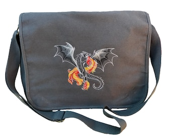 Dark Creatures Dragon Embroidered Canvas with Leather Accents Premium Laptop Bag