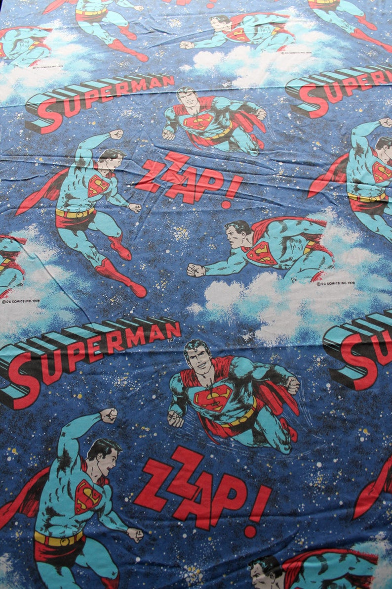 Vintage Superman Twin FLAT Bed Sheet and Standard Pillowcase 1978