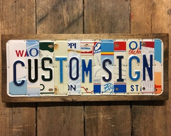 Custom License Plate Sign ~ Last Name - Custom Sign ~ Customized - Personalized ~ Unique Gift ~ 10 Year Tin Anniversary Gift - Wedding Gift