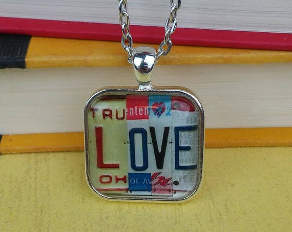 LOVE Necklace with License Plate Art - Unique Pendant / Chain Necklace with License Plate Sign Image - Small Gift - Stocking Stuffer