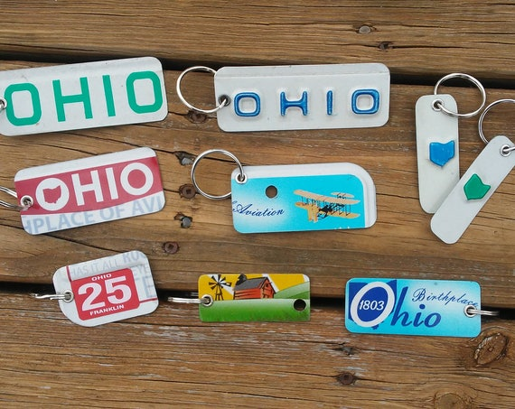 Ohio Key Chain - License Plate Keychain - Unique Key Ring Key Chain made from Genuine License Plates - Small Gift - Stocking Stuffer