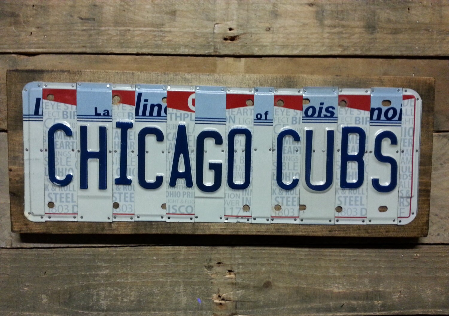 Chicago Cubs License Plate Sign - License Plate Wall Art - World Series teams (Rustic Apple Art seen in Country Living Mag) & Chicago Cubs License Plate Sign - License Plate Wall Art - World ...