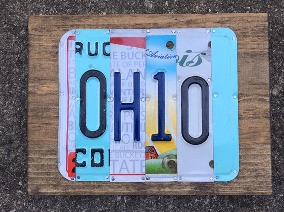 Ohio License Plate Sign, ohio gift, buckeye gift, buckeyes, Ohio University gift, Unique Gift, (Rustic Apple Art seen in Country Living Mag)