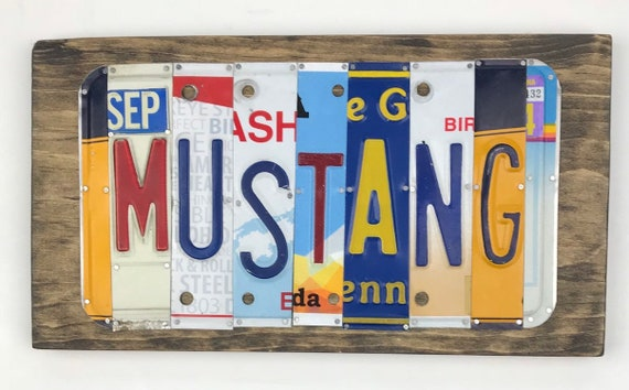 Mustang sign License Plate Sign, car signs, gifts for men, gifts for women, man cave, license plate art