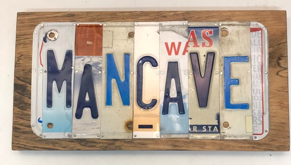 Mancave License Plate Sign - License Plate Wall Art - Rustic Sign -