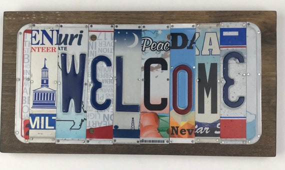 Welcome sign, License Plate Sign, garage signs, store gifts, gift for her, gift for him