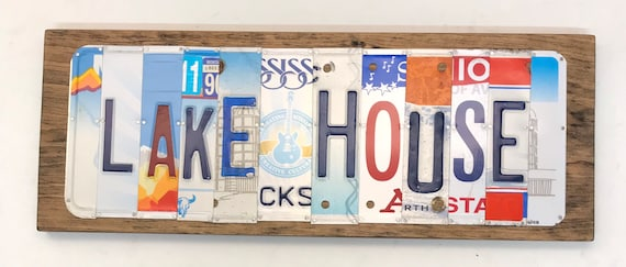 Lake House License Plate Sign - License Plate Wall Art - Rustic Sign -