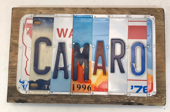 Camaro License Plate Sign - License Plate Wall Art - Rustic Sign -