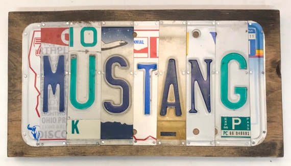 Mustang License Plate Sign - License Plate Wall Art - Rustic Sign -