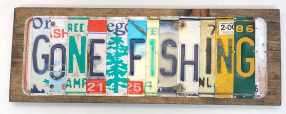 Gone Fishing License Plate Sign - License Plate Wall Art - Rustic Sign -
