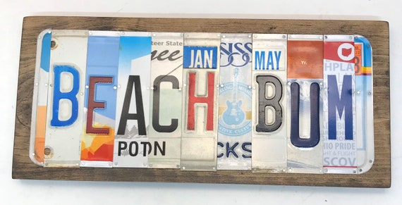 Beach Bum License Plate Sign - License Plate Wall Art - Rustic Sign -