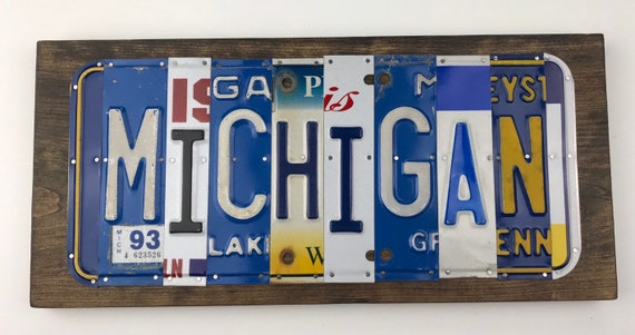 Michigan sign, License Plate Sign, garage signs, store gifts, gift for her, Michigan state