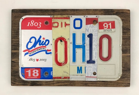 License Plate Sign - License Plate Wall Art - Ohio Sign - OH-IO Buckeye art