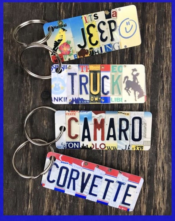 Pick your ride License Plate Keychain, Camaro, Truck, Corvette, Jeep, small gift, gift for son dad, fathers day gift, gift for boyfriend