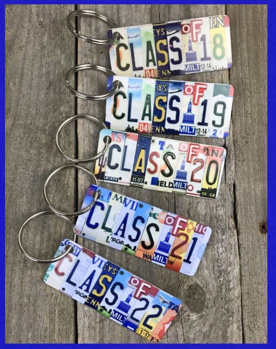 Class of 2018 2019 2020 2021 2022 2023 2024 License Plate Keychain, Keychain, bag tag, Gift for graduation, gift for graduate